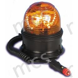 Girevole arancio in gomma 12V/24V, base magnetica a ventosa diam. 142 mm